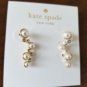Kate Spade Pearl Crawler Earrings Gold NWT